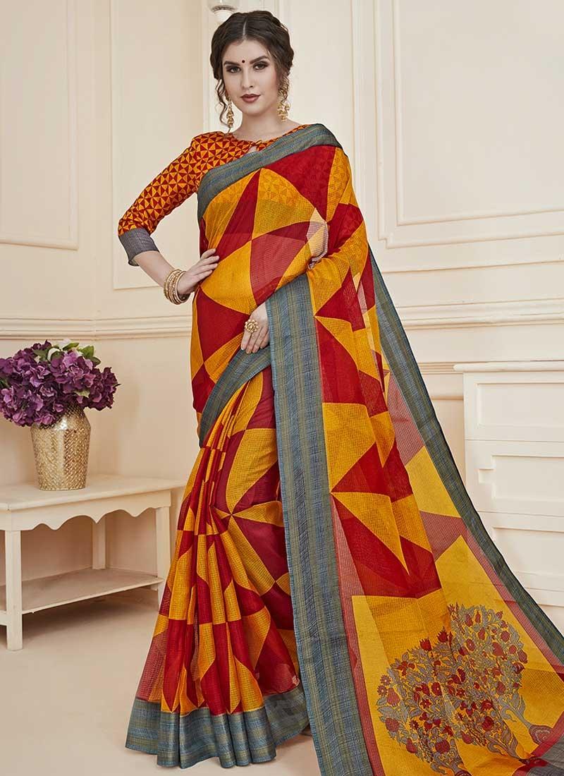 Digital Print Work Orange and Red Designer Traditional Saree