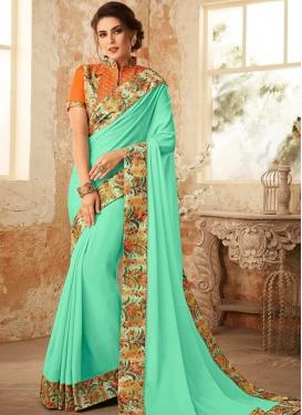 Digital Print Work Orange and Turquoise Designer Traditional Saree