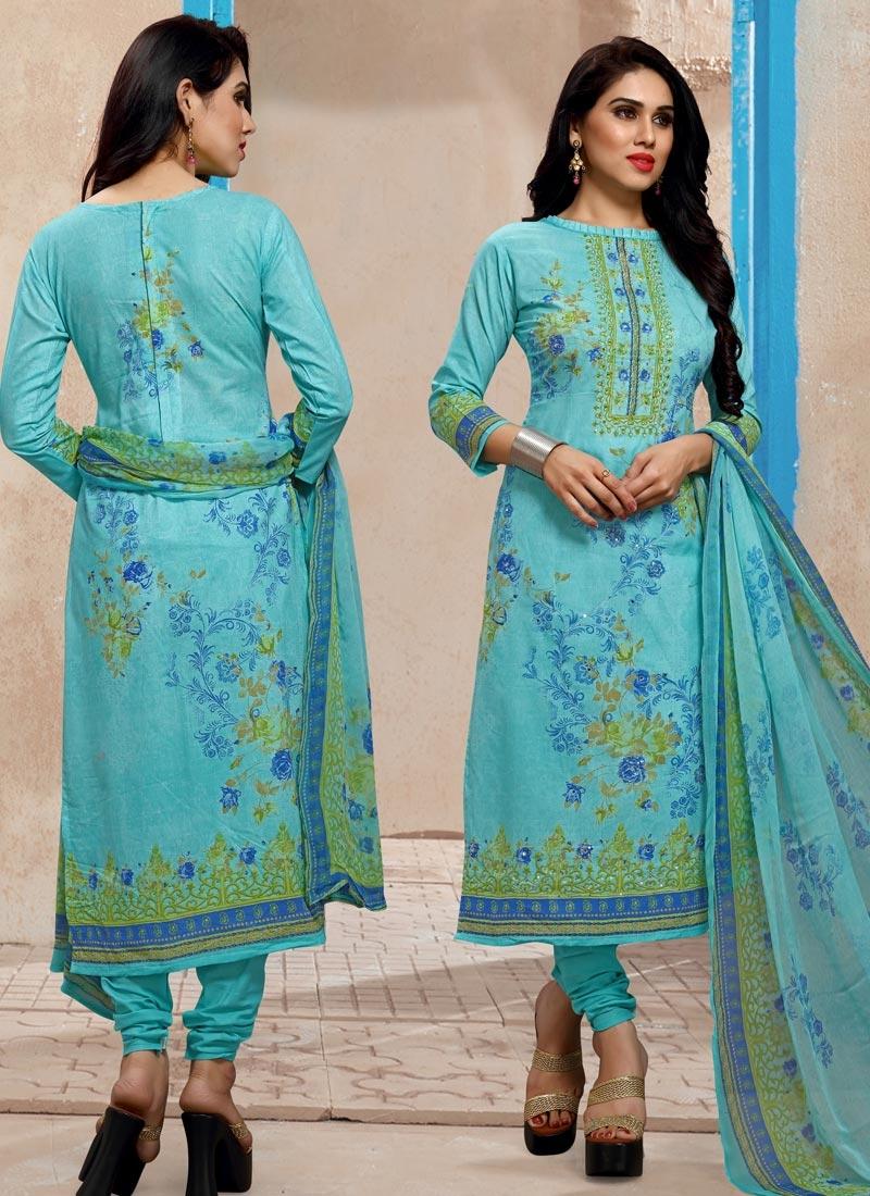 Digital Print Work Pakistani Straight Salwar Suit