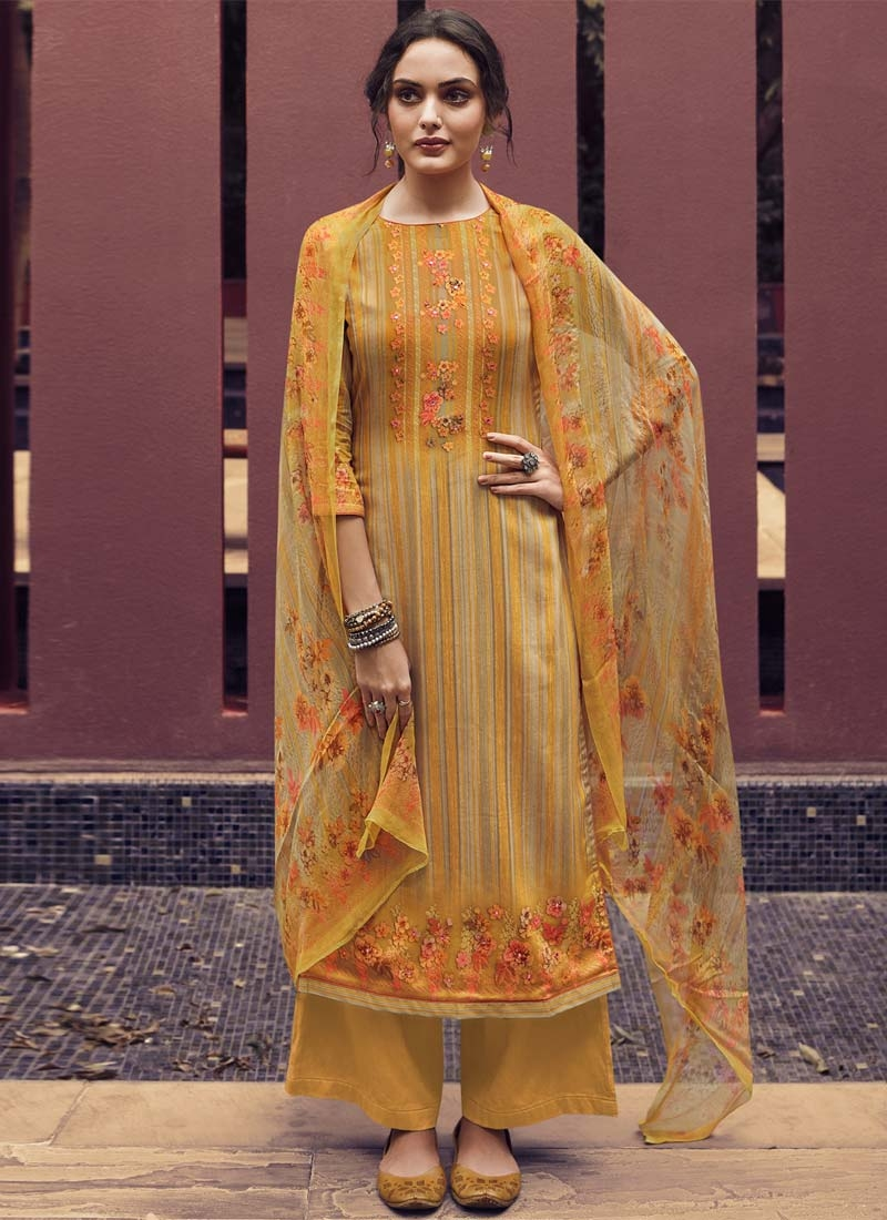 Digital Print Work Palazzo Style Pakistani Salwar Kameez For Ceremonial