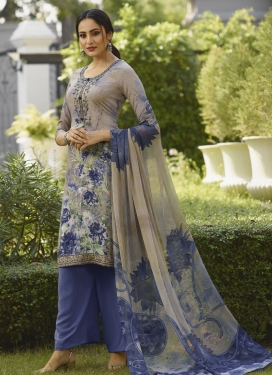 Digital Print Work Palazzo Style Pakistani Salwar Suit