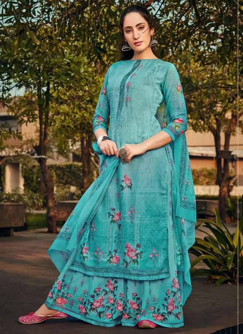 Digital Print Work Palazzo Style Pakistani Salwar Suit