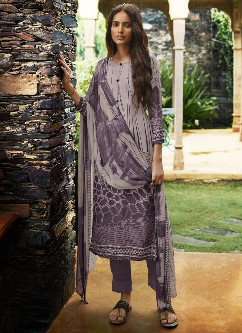 Digital Print Work Pant Style Pakistani Salwar Kameez For Ceremonial