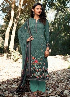 Digital Print Work Pant Style Pakistani Salwar Suit For Ceremonial