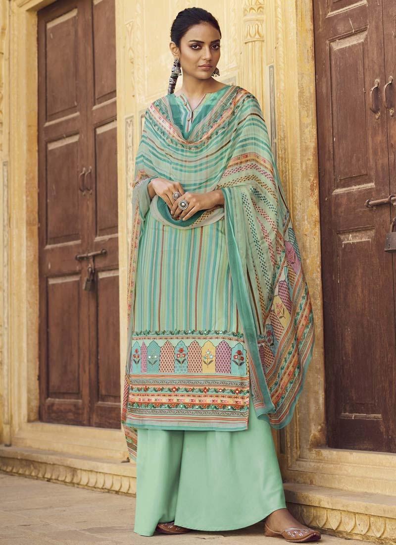 Digital Print Work Pasmina Palazzo Style Pakistani Salwar Kameez