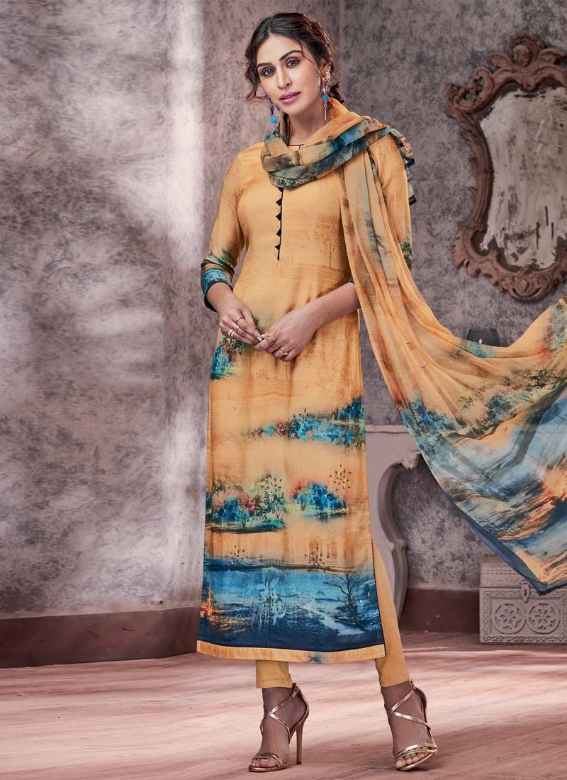 Digital Print Work Pasmina Pant Style Pakistani Salwar Kameez