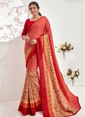 Digital Print Work Peach and Red Designer Traditional Saree