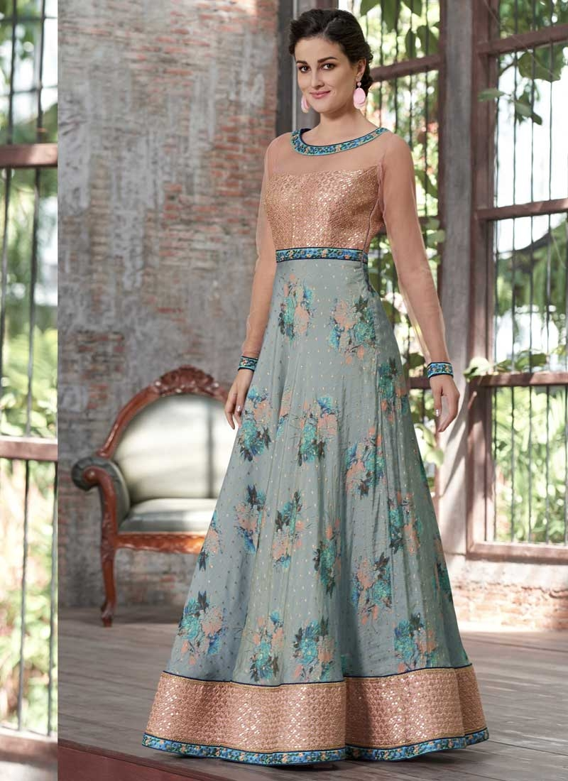 Digital Print Work Readymade Classic Gown
