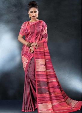 Digital Print Work Rose Pink and Wine Designer Contemporary Saree
