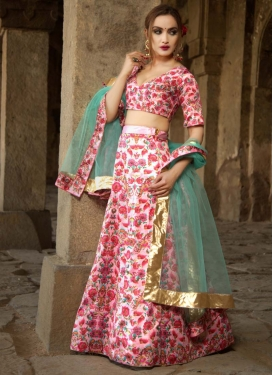 Digital Print Work Satin A Line Lehenga Choli