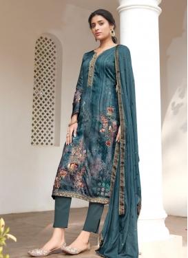 Digital Print Work Satin Pant Style Pakistani Suit