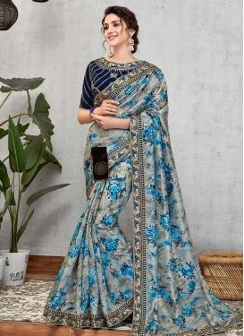 Digital Print Work Satin Silk Contemporary Style Saree