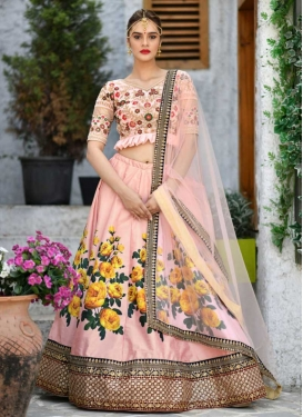 Digital Print Work Satin Silk Designer A Line Lehenga Choli