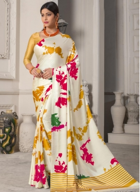 Digital Print Work Satin Silk Mustard and Off White Designer Contemporary Saree