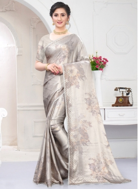Digital Print Work Satin Traditional Designer Saree