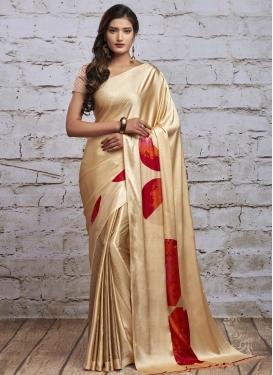 Digital Print Work Satin Traditional Designer Saree For Casual