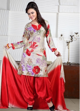 Digital Print Work Semi Patiala Salwar Kameez
