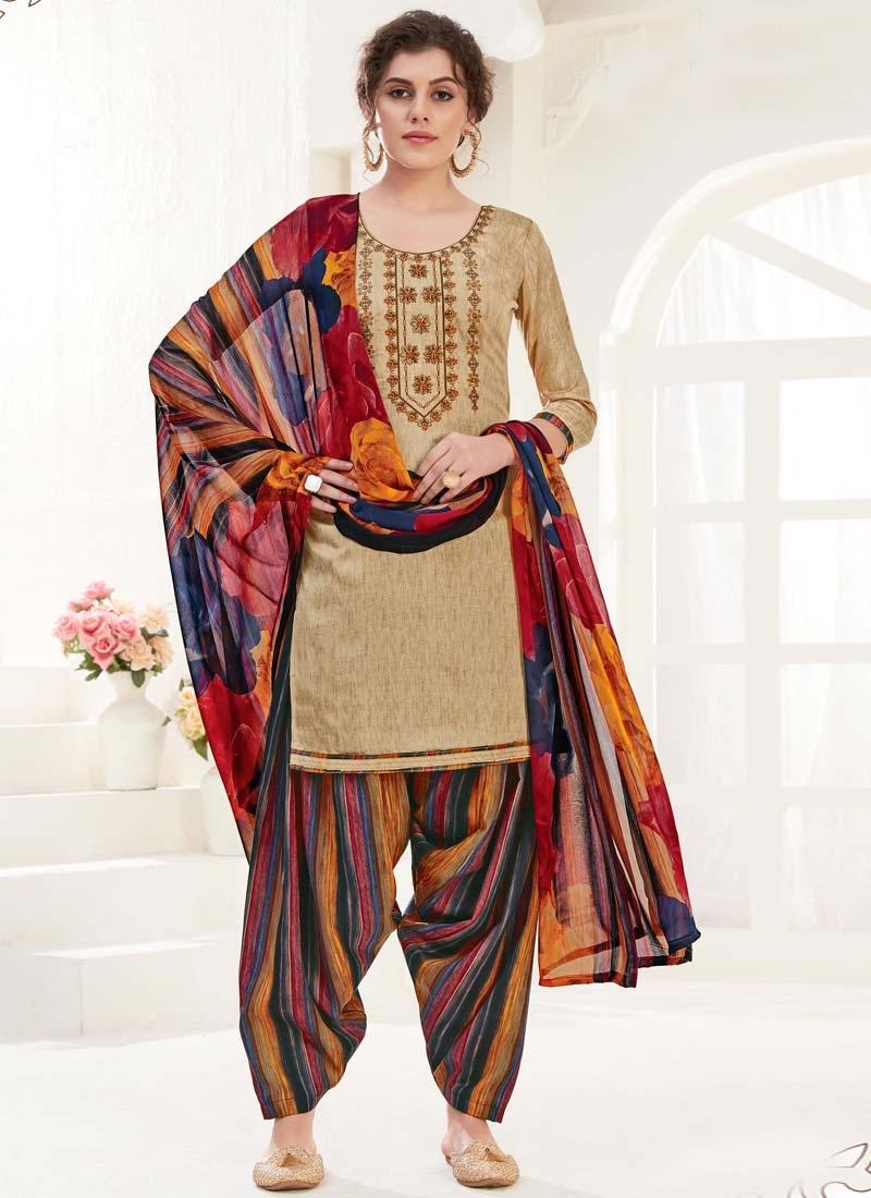 Digital Print Work Semi Patiala Salwar Suit