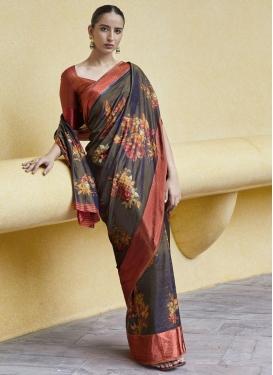 Digital Print Work Traditional Designer Saree For Casual