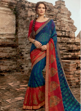 Digital Print Work Traditional Designer Saree For Ceremonial