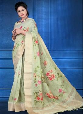 Digital Print Work Traditional Designer Saree For Festival