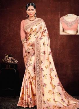 Digital Print Work Trendy Classic Saree For Bridal