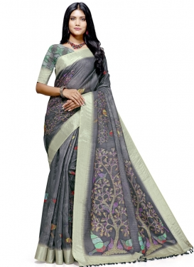 Digital Print Work Trendy Classic Saree For Casual