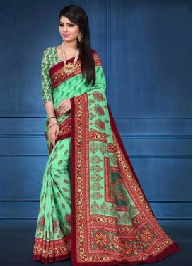 Digital Print Work Tussar Silk Designer Contemporary Saree