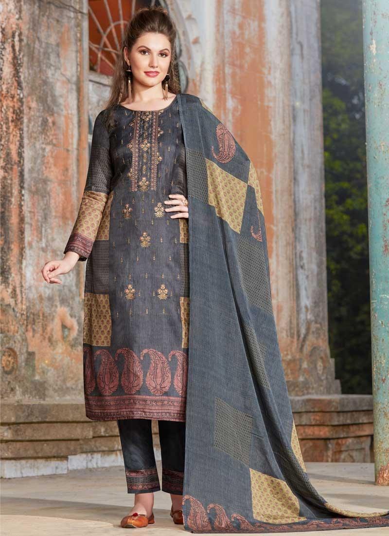 Digital Print Work Tussar Silk Pant Style Pakistani Salwar Suit