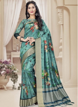 Digital Print Work Tussar Silk Traditional Designer Saree