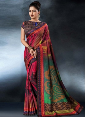 Digital Print Work Tussar Silk Trendy Classic Saree