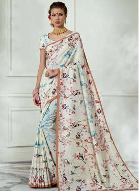 Digital Print Work Tussar Silk Trendy Saree