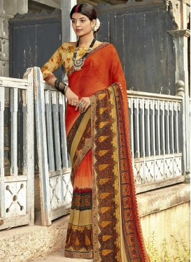 Digital Print Work Weight Less Cream and Orange Designer Contemporary Saree