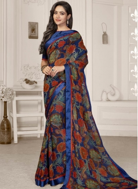 Digital Print Work Weight Less Designer Contemporary Saree