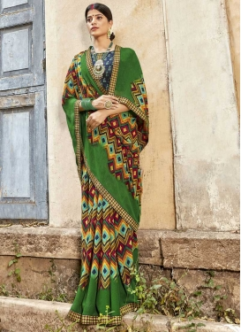 Digital Print Work Weight Less Designer Contemporary Saree For Casual