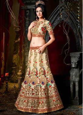 Dilettante Cream and Red  A - Line Lehenga