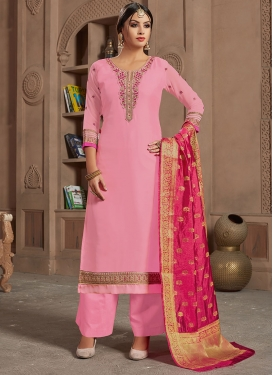 Dilettante Georgette Satin Designer Straight Suit