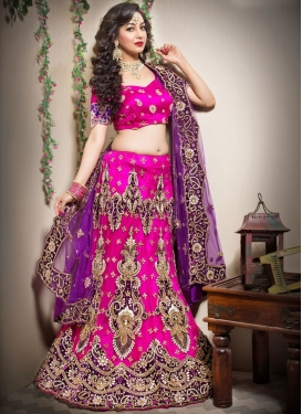 Dilettante Net Rose Pink Patchwork Trendy Lehenga Choli