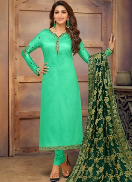 Dilettante Sea Green Casual Churidar Salwar Kameez