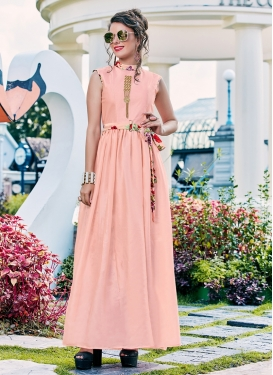 Distinctive Crepe Silk Fancy Salmon Readymade Gown