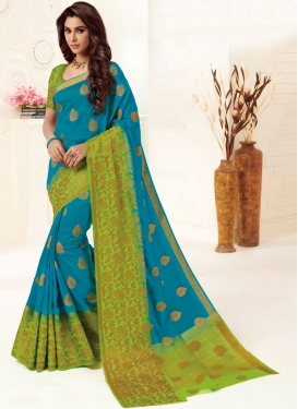 Distinctive Light Blue Weaving Designer Traditional Saree