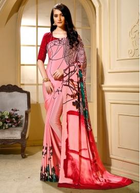 Distinctive Pink Printed Faux Crepe Trendy Saree