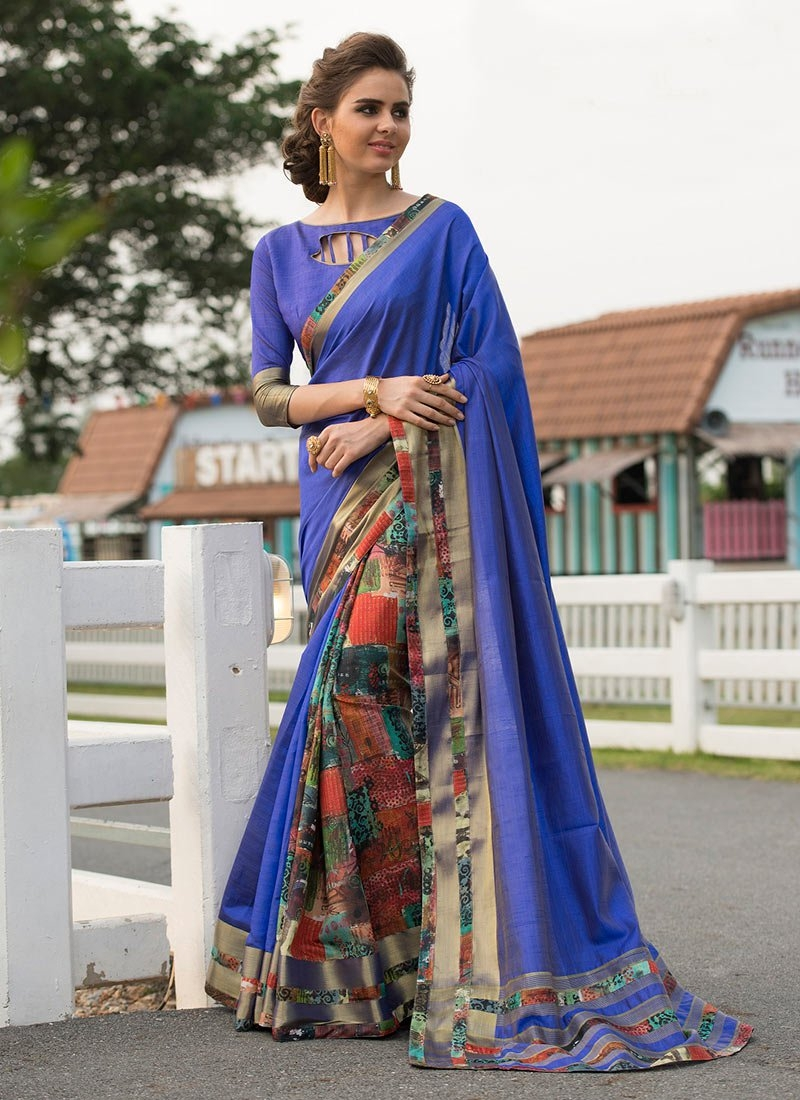 Distinctive Print Party Traditional Saree