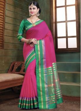 Distinctive Rose Pink Art Silk Traditional Saree
