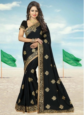Distinctively Chiffon Satin Booti Work Trendy Saree