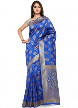 Distinguishable Blue Weaving Designer Traditional Saree