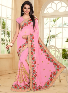 Distinguishable Faux Georgette Booti Work Traditional Designer Saree For Ceremonial