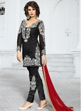 Distinguishable Net Booti Work Pant Style Classic Salwar Suit