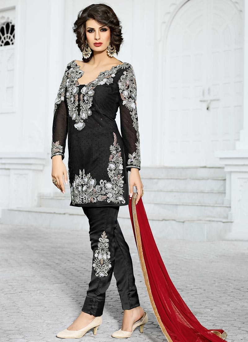 Distinguishable Net Booti Work Pant Style Classic Salwar Suit