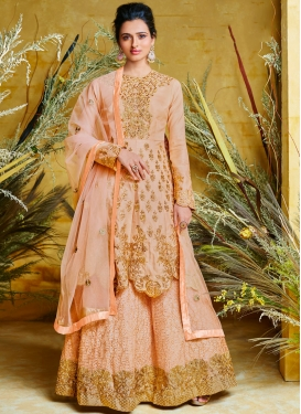 Divine Poly Silk Embroidered Peach Floor Length Anarkali Suit